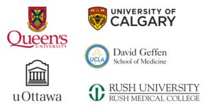 Queen's University, University of Calgary, UCLA, University of Ottawa, Rush University